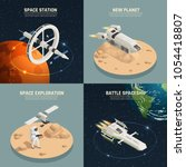 space ships and station for... | Shutterstock .eps vector #1054418807