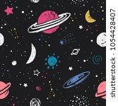space pattern with stars ... | Shutterstock .eps vector #1054428407