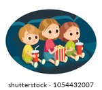 kids with popcorn in cinema | Shutterstock .eps vector #1054432007