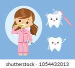 little girl brushing teeth   Shutterstock .eps vector #1054432013