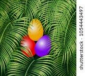 easter eggs on the green rain... | Shutterstock .eps vector #1054443497