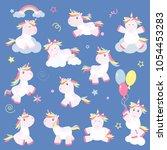 cute unicorn magic baby vector. ... | Shutterstock .eps vector #1054453283