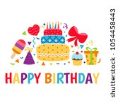birthday card. background with... | Shutterstock .eps vector #1054458443