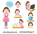 the daily routines of girl ... | Shutterstock .eps vector #1054459667