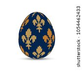 knitted easter egg with royal... | Shutterstock .eps vector #1054462433