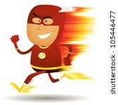 Comic Fast Running Superhero ...