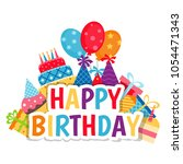 birthday card. background with... | Shutterstock .eps vector #1054471343