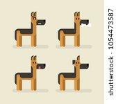 cute funny dog sheepdog set... | Shutterstock .eps vector #1054473587