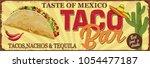 vintage tacos bar metal sign.   Shutterstock .eps vector #1054477187