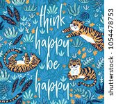 think happy be happy. quote.... | Shutterstock .eps vector #1054478753