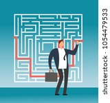 businessman drawing right path... | Shutterstock .eps vector #1054479533