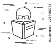 man with glasses reading a big... | Shutterstock .eps vector #1054480793