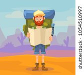 cute tourist male character... | Shutterstock .eps vector #1054510997