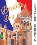 bastille day poster. vector... | Shutterstock .eps vector #1054531307