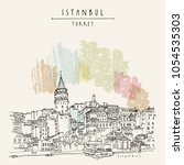 istanbul  turkey. galata tower  ... | Shutterstock .eps vector #1054535303
