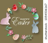 vector easter day paper cut.for ... | Shutterstock .eps vector #1054536167
