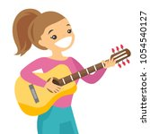 friendly musician sitting with... | Shutterstock .eps vector #1054540127