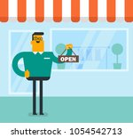 friendly caucasian white shop... | Shutterstock .eps vector #1054542713