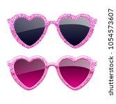 set of pink glitter heart...   Shutterstock .eps vector #1054573607
