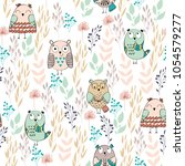 vector seamless pattern with... | Shutterstock .eps vector #1054579277