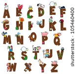 Alphabet with animals and farmers. Funny cartoon and vector isolated letters. - stock vector