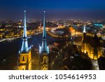 aerial night drone view on... | Shutterstock . vector #1054614953