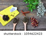 big leaf or whole leaf tea.... | Shutterstock . vector #1054622423