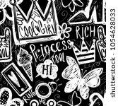 grunge seamless fashion pattern ... | Shutterstock .eps vector #1054628033