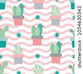 Cactus Plant Vector Seamless...