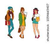 vector sketch young happy teen... | Shutterstock .eps vector #1054665407