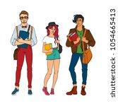 vector sketch young teen... | Shutterstock .eps vector #1054665413