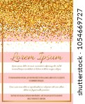 gold glitter border with pink... | Shutterstock .eps vector #1054669727