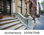 Brooklyn Heights Brownstone/Block of Brooklyn's oldest & most historic neighborhood - stock photo
