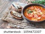 portion of green lentil tomato...   Shutterstock . vector #1054672337