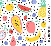 vector tropical fruit... | Shutterstock .eps vector #1054693577