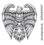 Powerful eagle or griffin in heraldic style, such logo. Jpeg version also available in gallery - stock vector