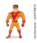 handsome cartoon superhero... | Shutterstock .eps vector #105470873