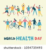 world health day banner with... | Shutterstock .eps vector #1054735493