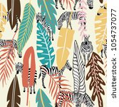 abstract color tropical leaves... | Shutterstock .eps vector #1054737077