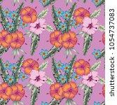 tropical hibiscus flowers... | Shutterstock .eps vector #1054737083