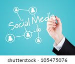 Hand writing social media to screen. Blue Background - stock photo