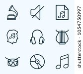 audio icons line style set with ... | Shutterstock .eps vector #1054750997