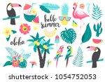 summer set of design elements... | Shutterstock .eps vector #1054752053