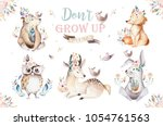 Stock photo cute watercolor bohemian baby cartoon rabbit and bear animals for kindergarten woodland deer fox 1054761563