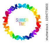 round frame from vivid colorful ... | Shutterstock .eps vector #1054773833