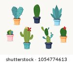 colorful hand drawn cactus set... | Shutterstock .eps vector #1054774613