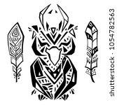 decorative owl. tribal pattern. ... | Shutterstock .eps vector #1054782563