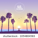 amazing silhouette woman sit in ... | Shutterstock .eps vector #1054804583