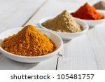 Close-up of spices in small bowl - stock photo
