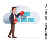 Business man putting document file folders in the cloud storage cabinet with drawers. Business clerk doing archive paperwork. Cloud storage technology concept. Flat vector character illustration